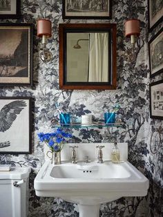 To Brass or Not To Brass In the New Un-Bathroom - laurel home - Ben Pentreath's fabulous small bathroom in London with Richmond Part wallpaper by Zoffany
