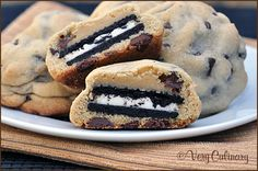 Oreo Stuffed Chocolate Chip Cookies | by Very Culinary. These have become a birthday tradition for my husband. One is enough!