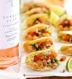 Prawn / Shrimp Taco Appetizers Bite Size Shrimp Tacos (Prawn) - The mini taco shells are made by draping cut tortilla rounds on the oven rack wires! Filled with shrimp and a spicy adobo sauce.