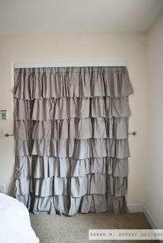 sarah m. dorsey designs: Drapery Panels for Closet Doors Closet Curtains, Hanging Curtains, Closet Doors, Teen Bedroom, Bedroom Decor, Bedroom Ideas, Master Bedroom, Bedrooms, Small Closets