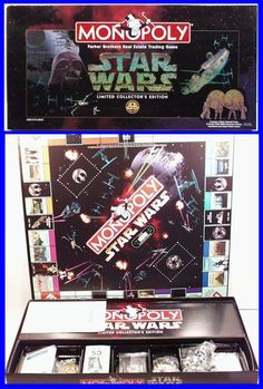 Vintage 1996 STAR WARS MONOPOLY Board Game, Collectors Edition Pewter Figures