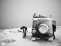 Snow blasted Land Rover Defender