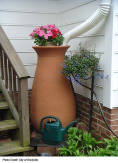 Aesthetically pleasing rain water barrel. Definitely getting one of these.