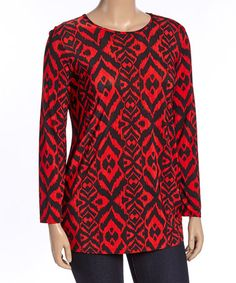 Loving this Red & Black Ikat Top - Plus on #zulily! #zulilyfinds