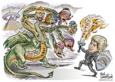 "garygibbon: "" St. Milo Yiannopoulos vs the left-wing hydra, by Ben Garrison. Here's hoping he can slay the beast. "" Milo and his team were great to work with, hopefully they will commission more Ben..."