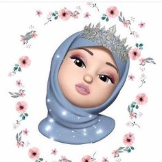 A scarf is the most essential part while in the apparel of girls together with hijab. Emoji Wallpaper, Cute Disney Wallpaper, Cute Cartoon Wallpapers, Girl Wallpaper, Girl Cartoon, Cartoon Art, Emoji Photo, Anime Muslim, Muslim Hijab