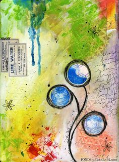 Ronda Palazzari journal page in rainbow colors and circles.  She has lots of other mixed media candy for the eyes!