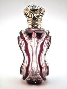 c1880 ANTIQUE 19thC SILVER & AMETHYST CUT TO CLEAR GLASS PERFUME SCENT BOTTLE