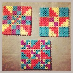 Quilt Blocks made from Perler Beads and hand-stitched with embroidery by AshleyEGlidewell