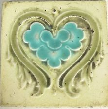 "Antique England - 8 Art Nouveau Majolicas - Tiles C1900 square 3"" x 3""  (#713)"