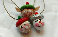 Hand Painted Santa Elf and Snowmen Acorn by PaintedPeaces on Etsy
