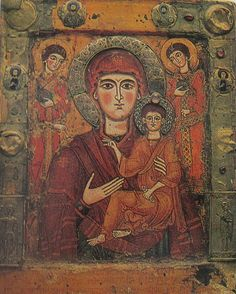 The Virgin and Child. Icon from Tsilkani, Georgia's oldest icon from 9th century. Renewed several times by 18th century.