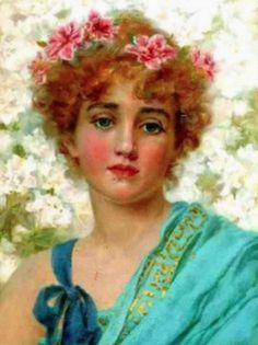 ⊰ Posing with Posies ⊱ paintings of women and flowers - Norman Prescott Davies
