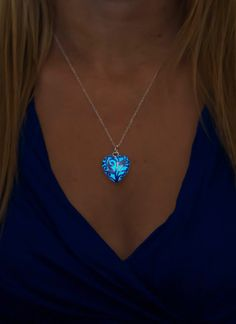 Small Blue Glowing Necklace Heart Necklace Silver by EpicGlows