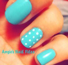 Tiffany blue nails with white poka dots I did :)