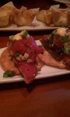 Tuna tartar and wasabi aoili with crab wontons