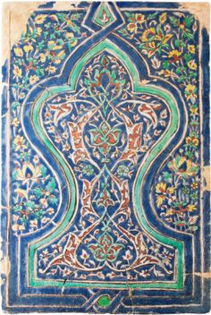 Art from the Land of Timur  late 14th century cuerda seca tile panel from Samarkand