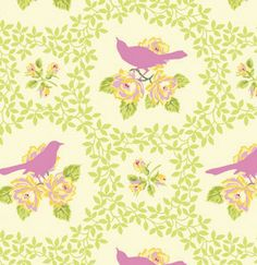 Fabric... Up Parasol birds in Pink by Heather Bailey for FreeSpirit Fabrics