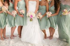 Sage bridesmaid dresses // Photographer: Amy Little Photography / Reception Venue: Palazzo Del Sol / Wedding Planner/Coordinator: Serene Occasions // See more: http://theeverylastdetail.com/rustic-chic-pink-burlap-wedding/ #Wedding Ideas