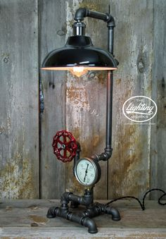 Steampunk Industrial Lamp with a Vintage American Radiator Gauge - The Lighting Works