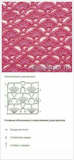 """Patrón de ganchillo para una falda de verano blanca y rosa desde el lado """"страна мам"""" Spiral Crochet, Granny Square Crochet Pattern, Crochet Diagram, Crochet Stitches Patterns, Crochet Chart, Crochet Motif, Knitting Stitches, Crochet Designs, Free Crochet"""