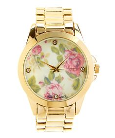 Look at this Goldtone & Ivory Floral Dial Watch on #zulily today!