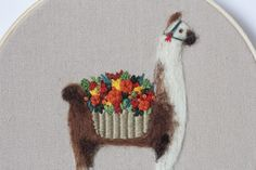 Llama art alpaca embroidery hoop
