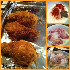 Feeding Big and more: Easy Oven Fried Chicken - Our favorite!  This chicken has a wonderful crunchy outside and a moist inside.  It is perfect every time!  http://www.feedingbig.com/2013/04/easy-oven-fried-chicken-our-favorite.html