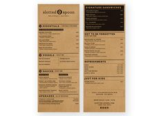 Slotted Spoon menu, designed by Anthem Branding. #typography #design #menu    Nice logo, very simple, readable, professional menu in black and white.