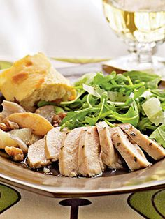 Roast Chicken with Pears, Shallots, and Walnuts #recipes