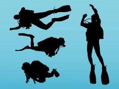 Scuba Divers Silhouette Vinyl Wall Art Sticker Diver