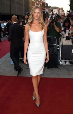 In love with this simple yet timeless look - Rosie Huntington-Whiteley, Versace dress, Christian Louboutin shoes:  GQ Men of the Year Awards, London, September 3, 2013