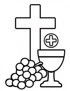 Free First Holy Communion Clip Art Bread, wine grapes & cross clipart. Use for first communion banner patterns, scrap booking or other arts & craft projects! First Communion Banner, First Communion Decorations, Boys First Communion, First Communion Cakes, Première Communion, Communion Banners, Cross Coloring Page, Colouring Pages, Free Coloring