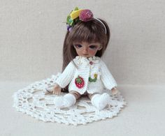BJD doll white Jacket with applique strawberry by Creativhook