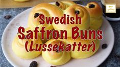 Here's another Swedish Christmas tradition for you! Swedish Saffron Buns, also called St. Lucia Buns or 'Lussekatter', are sweet buns that's great for snack, dessert or breakfast. Try making them at home! Scandinavian Recipes, Swedish Recipes, Swedish Christmas Traditions, Sweet Buns, English Muffins, Scones, Biscuits, Rolls, Snacks