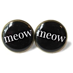 Black and White Crazy Cat Lady Meow Stud Earrings ($14) ❤ liked on Polyvore featuring jewelry, earrings, jewels, white and black earrings, black white earrings, cat earrings, black and white earrings and cat jewelry