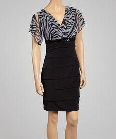 Loving this Gray & Black Stripe Sequin Empire-Waist Dress on #zulily! #zulilyfinds