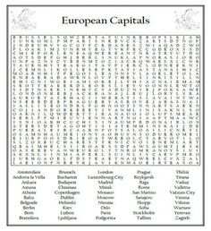 European Countries Word Search Puzzle Differentiated 2