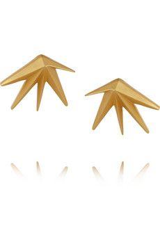 Eddie Borgo Cyprus gold-plated cubic zirconia earrings   NET-A-PORTER
