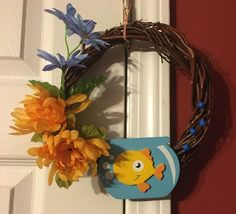 Handmade Gold Fish Bowl with Glitter Flora and Beads Grapevine door Wreath by BombPopBoutique on Etsy