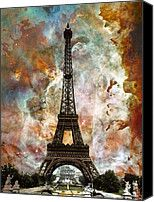 The Eiffel Tower - Paris France Art By Sharon Cummings Painting by Sharon Cummings - The Eiffel Tower - Paris France Art By Sharon Cummings Fine Art Prints and Posters for Sale
