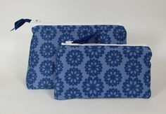 Cosmetic Bags Set of Two Blue Floral Pattern Handmade Makeup Bag Toiletry Bag Zipper Pouch Cosmetic Case