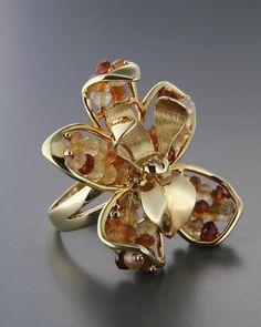 Χειροποίητο δαχτυλίδι χρυσό Κ14 με Τοπάζι