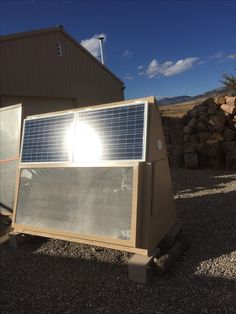 Here's a portable solar air furnace that I'm going to take to Energy fairs and demonstrate it to potential customers.
