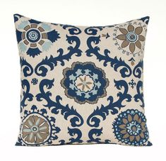 One decorative throw pillow in a modern large scale suzani print in beautiful shades of navy blue, taupe and aqua on linen. Truly gorgeous with