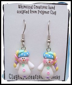 Let it Snow! These snowmen earrings are my absolute favorites and I love to make them! The snowmen are hand sculpted from polymer clay and