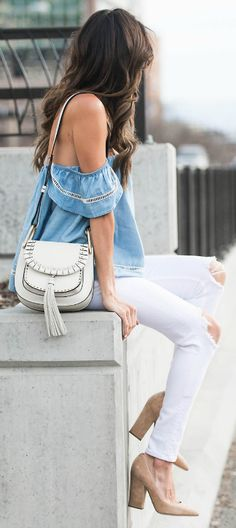 Off the shoulder top trend + a bang this spring + Christine Andrew + beautiful embroidered denim top + white jeans + ultimate spring classic.   Top/Jeans: Bloomingdale's, Heels: Intermix.