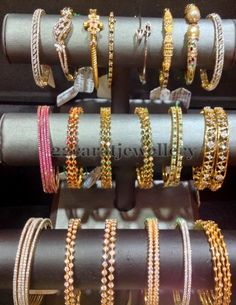 Diamond, Emerald and Ruby Bangles - Indian Jewellery Designs Gold Bangles Design, Jewelry Design, Designer Jewellery, Ruby Bangles, Bridal Bangles, Bridal Jewellery, Bangle Set, Bangle Bracelets, Diamond Bangle