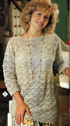 Crochet Tunic Top Pattern Easy Fan Lace Tunic por SassyloveCrochet