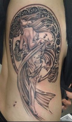 Done by Madet Tattoos in Bingen, Germany. Inspired by Mucha's 'Dance'